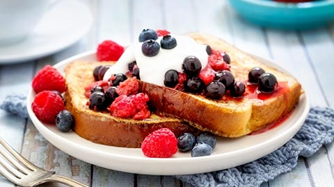 DHA (an Omega-3 fat) - French Toast with yogurt and fruit topping
